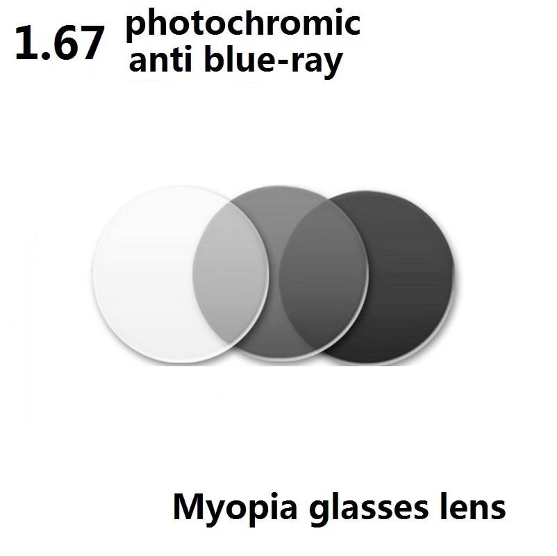 1.67 Aspheric Anti Blue Ray Photochromic Gray Myopia Glasses Lenses EyeWear Resistant Coated Optical Resin Lenses Color Eye Lens