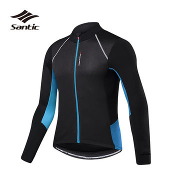 Santic Autumn Winter Fleece Thermal Cycling Jacket Men Bike Jacket Wind Coat Cycling Clothing Windproof Warm Bicycle Jacket 3XL