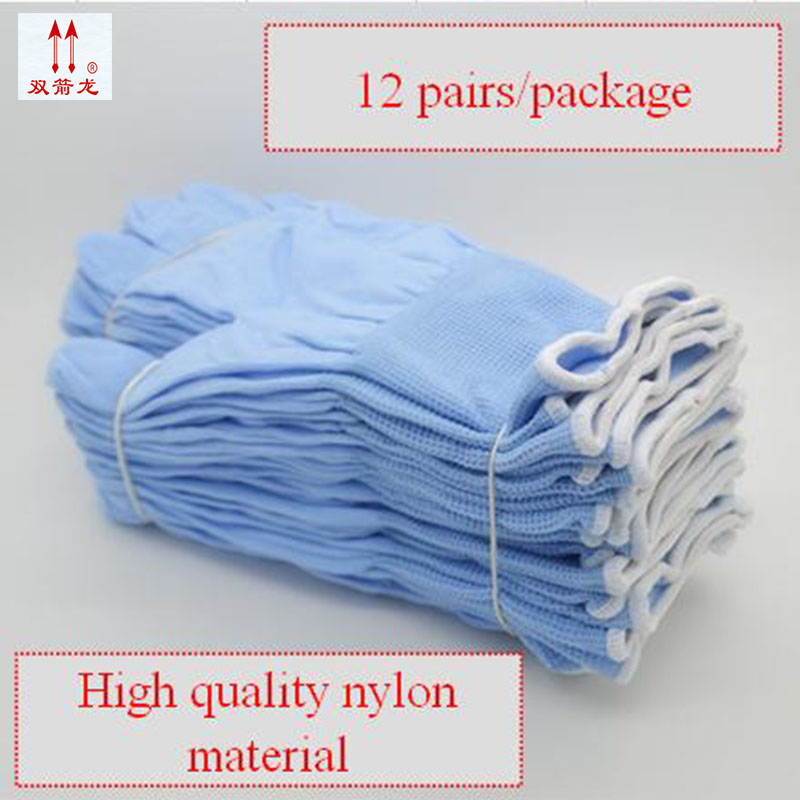 high quality Knitted nylon protection gloves 12 pairs of blue leather working gloves Wearable Breathable Non-slip working gloves racmmer cycling gloves guantes ciclismo non slip breathable mens