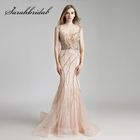 Luxury Champagne Celebrity Formal Dresses Beaded Crystals Mermaid Long Sheer Neck Illusion Back Evening Prom Gowns