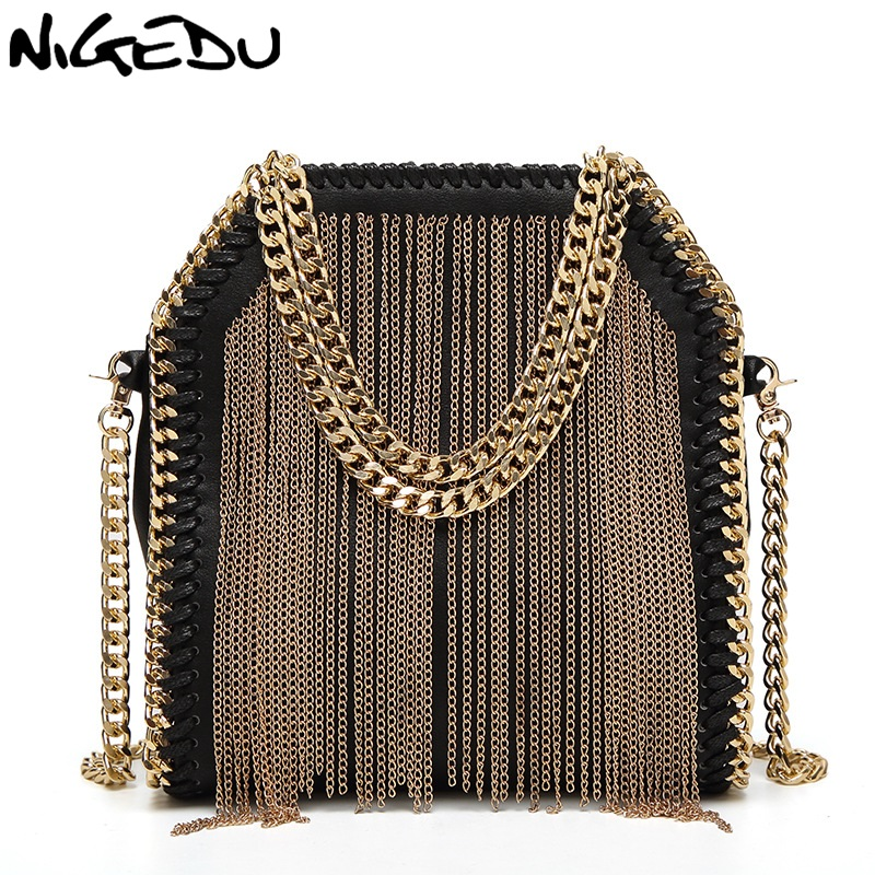 NIGEDU brand design metal tassel women handbag small Weaving chain Women's Shoulder bag lady Crossbody messenger Bags bolsas stylish metallic and weaving design shoulder bag for women