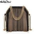 NIGEDU marke design metall quaste frauen handtasche kleine Weben kette frauen Schulter tasche lady Crossbody-tasche messenger Taschen bolsas