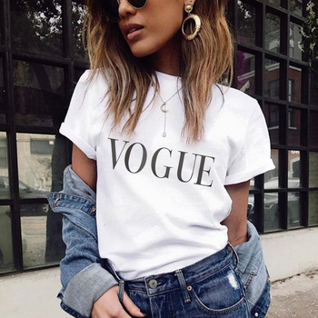 Summer 2019 VOGUE T Shirt Women Letter Printed T-shirts Casual Tops Tee Harajuku Vintage White Shirt Woman Clothes Mjuer Femme цена 2017