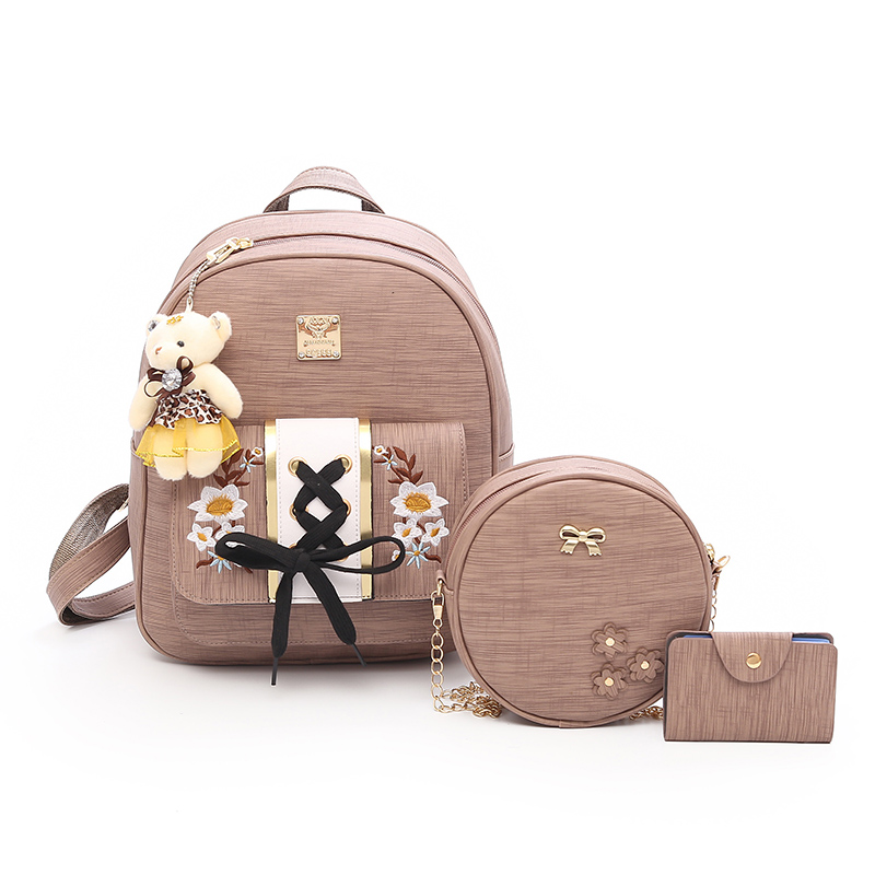New Fashion Floral Women Backpack Designer PU Leather Backpacks Cute Shoulder School Bags For Teenager Girls Mini Female Bag Sac