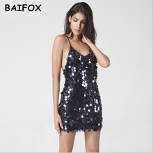 BAIFOX Deep V Sequin Sundress Backless Luxury Slip Dress Sexy Party Short Dress Women 2017 Spring Summer Dress Vestido Camisole