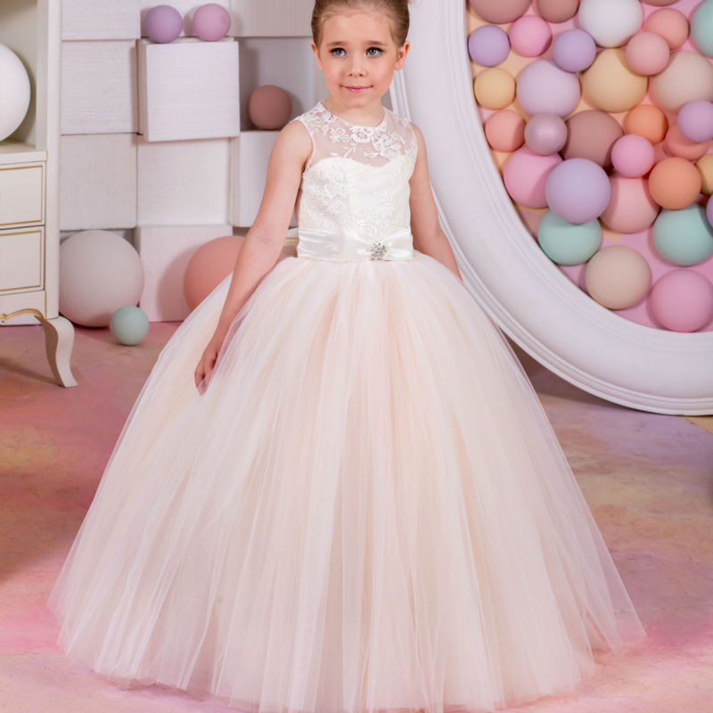 Ball Gown Flower Girls Dresses for Wedding Sleeveless Holy Communion Dresses Lace UP Long Mother Daughter Dresses With Bow new spring pretty flower girls dresses tulle communion gown ball gown mother daughter dresses lace holy communion dresses