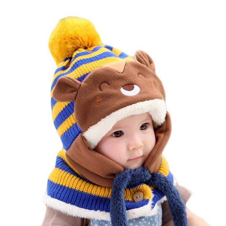 newborn baby photography props Cute Winter Baby Kids Girls Boys Warm Woolen Coif Hood Scarf Caps Hats baby bonnet newborn hat
