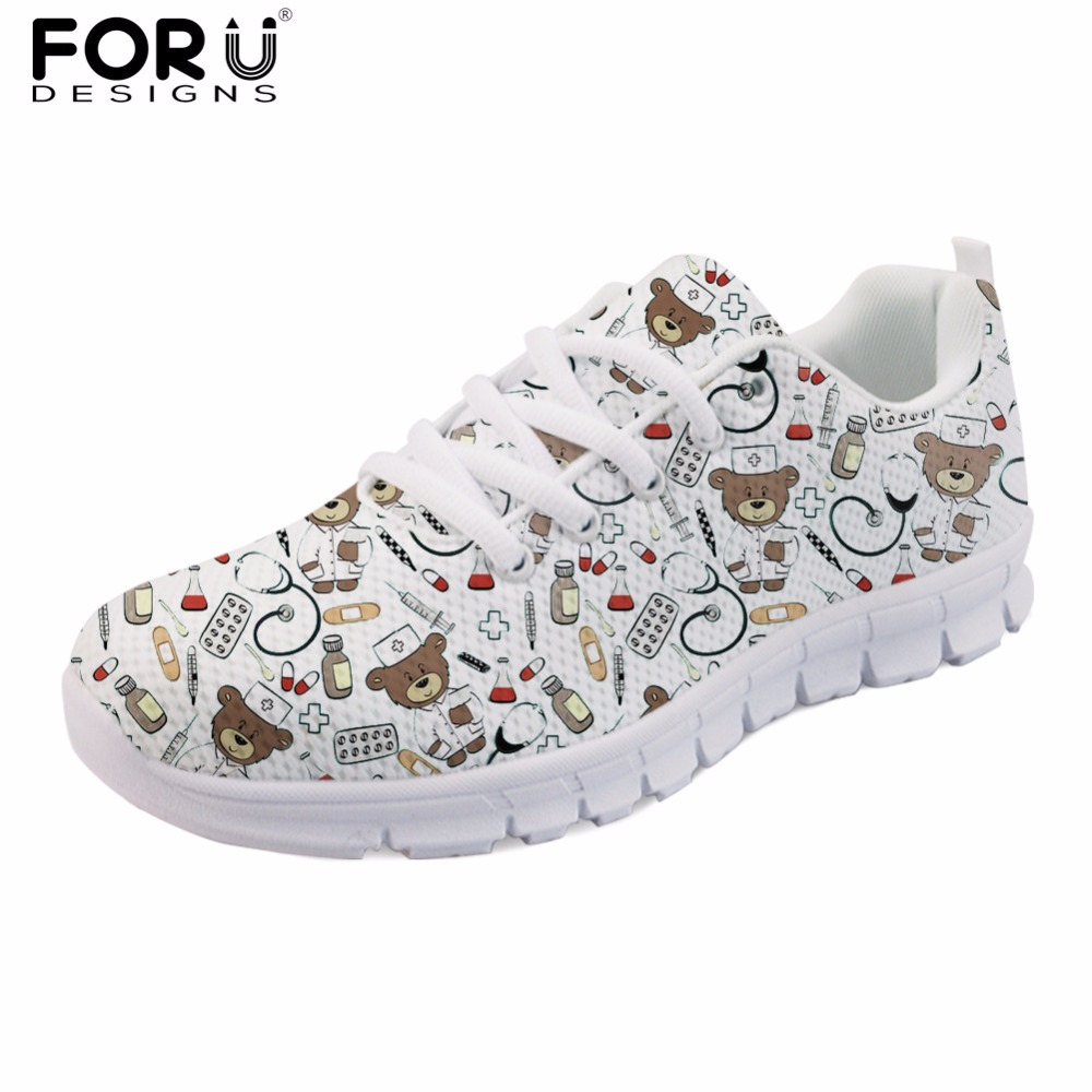 FORUDESIGNS White Cute Cartoon Nurse Bear Pattern Women Casual Sneakers Nursing Comfortable Mesh Flats Shoes for Female Girls instantarts fashion women flats cute cartoon dental equipment pattern pink sneakers woman breathable comfortable mesh flat shoes