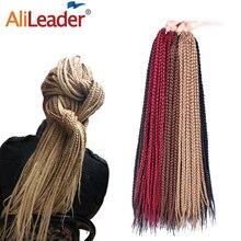 Alileader, вязаная крючком, плетеная коробка, косички, длинные, 30 дюймов, высокая температура, синтетические плетеные волосы, черный, бордовый, блондин, коричневый, вязанные волосы