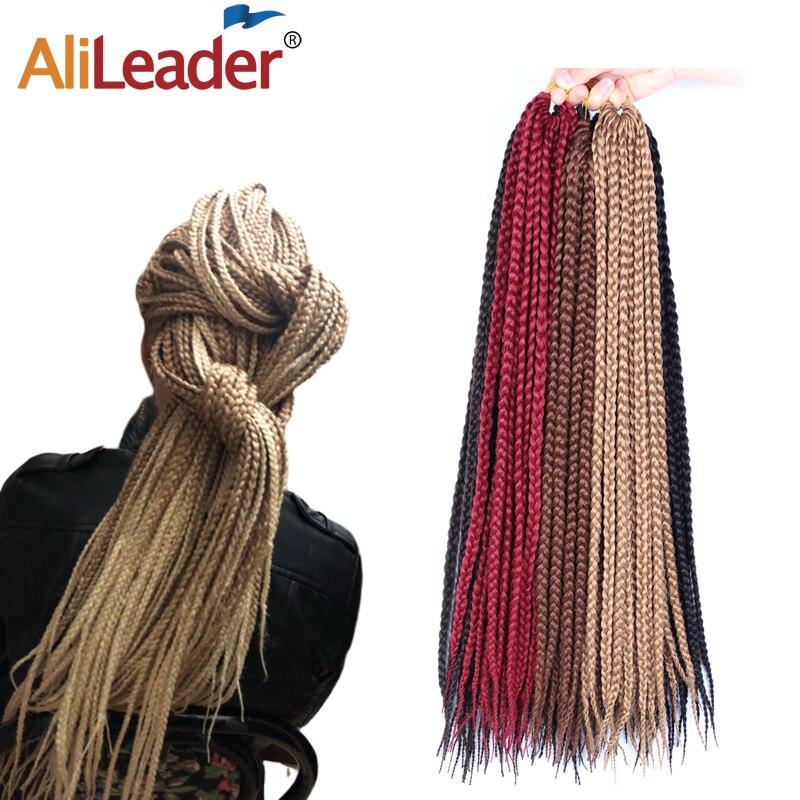 Alileader Crochet Braid Box Braids Long High Temperature Synthetic Braiding Hair Black Burgundy Blond Brown Crochet Hair