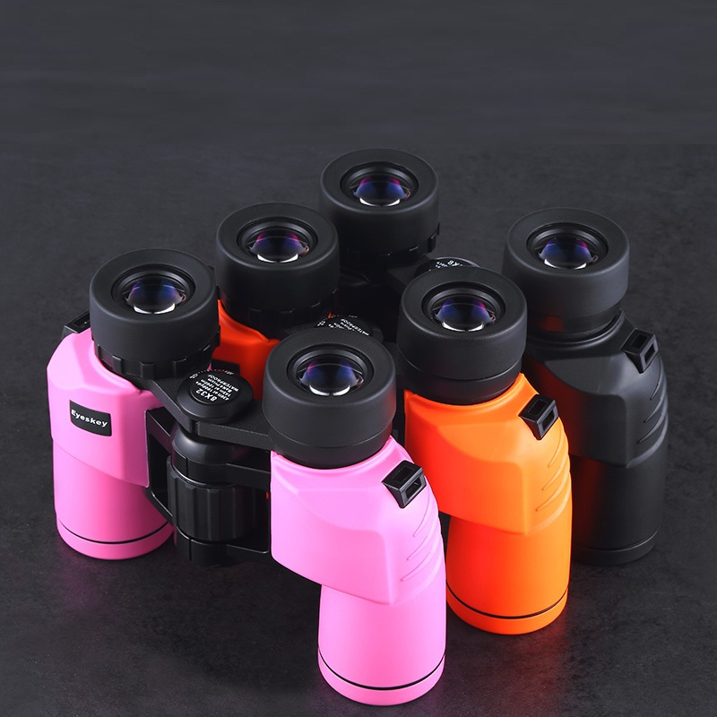 8830 Binoculars 8x32 Eyeskey Porro Waterproof Binoculars Telescope Bak4 Prism Optics Compact for Camping Pink/Black/Yellow color