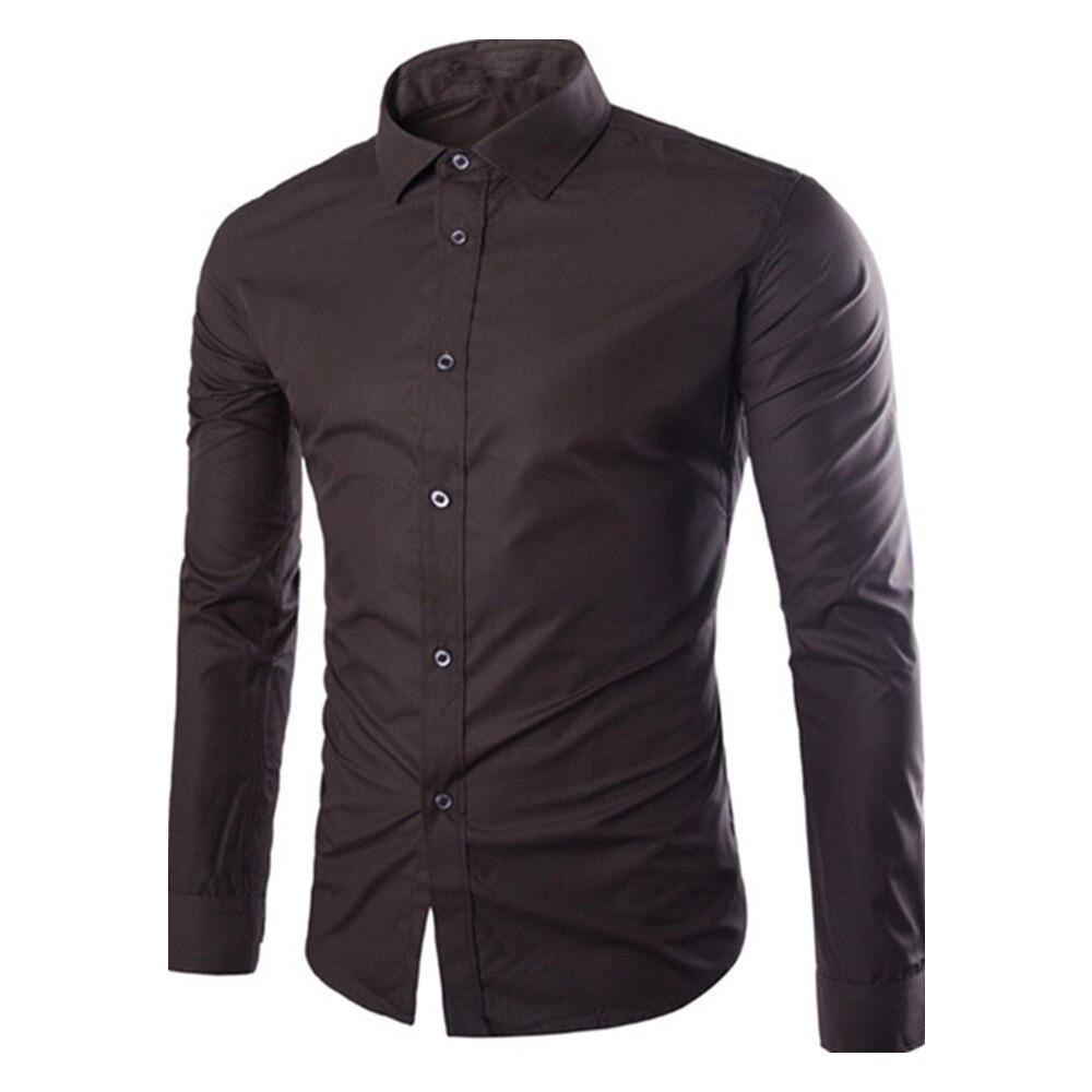 Джентльмен темно-Кофе рубашка элегантный мужской Бизнес блузка сплошной Цвет Для мужчин Blusa офисной одежды Повседневное Топы корректирующ...