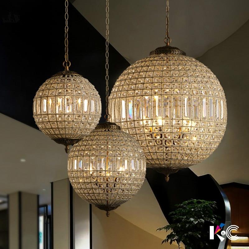 Américain De Luxe Lustre K9 Cristal Rond Cercle Métal Led Lampes Suspendues Français Cristal Luminaria Led Lampe Suspendue pour le Couloir