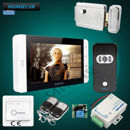 HOMSECUR 1 Monitor + 1 Camrea + Electric Lock 7 Video Door Entry Phone Call System Electric Lock+Keys Included t handle vending machine pop up tubular cylinder lock w 3 keys vendo vending machine lock serving coffee drink and so on