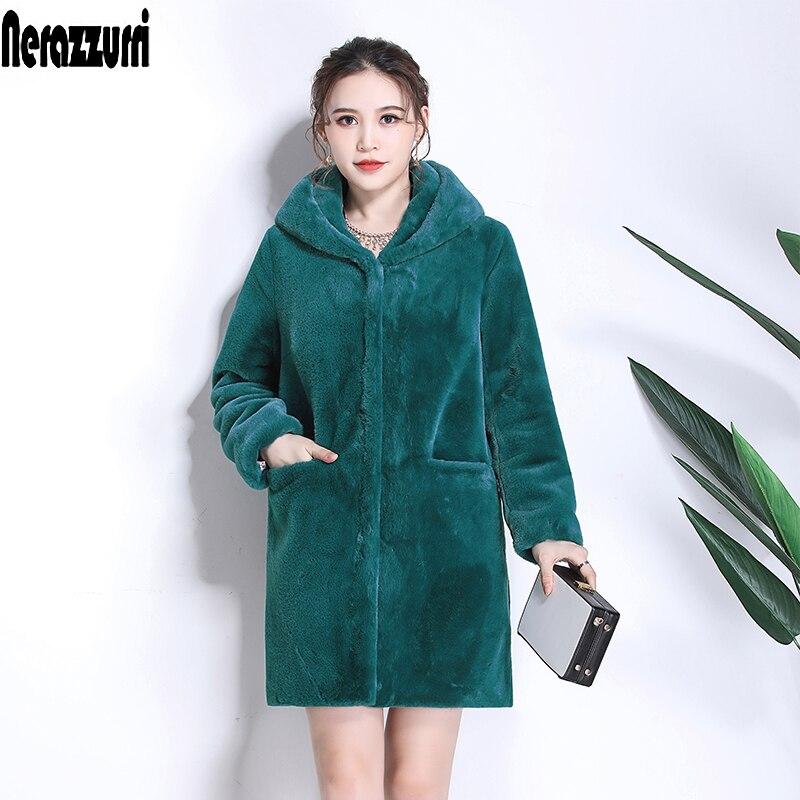 Nerazzurri Winter Women Fur Coat With Hood Long Sleeve Red Black Warm Fur Pockets Plus Size Plush Fluffy Fake Fur Jacket 5xl 6xl