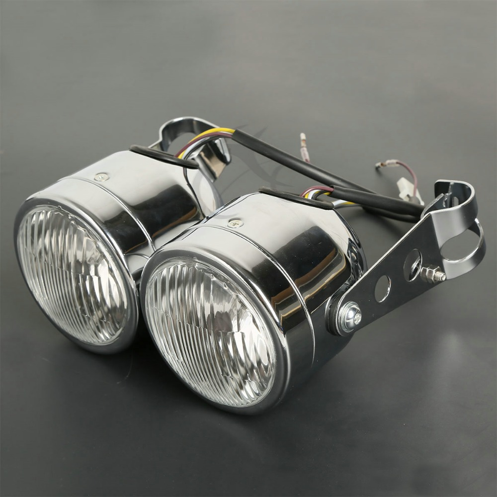 Moto Double Phare Avant lampe W/Support Pour Harley Street Fat Boy Dual Sport Dirt Vélos Street Fighter Nu café Racer - 4