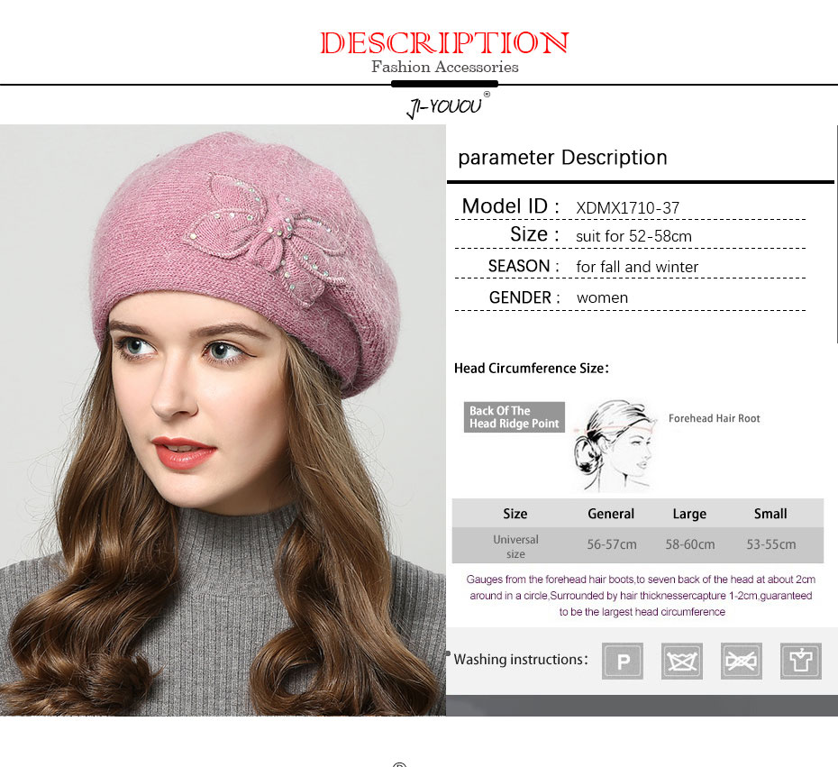 5579a7d8a 2018 winter hats for women hat Berets with rhinestones rabbit fur hats for  women's knitted beanie Thicker Women's cap beanies