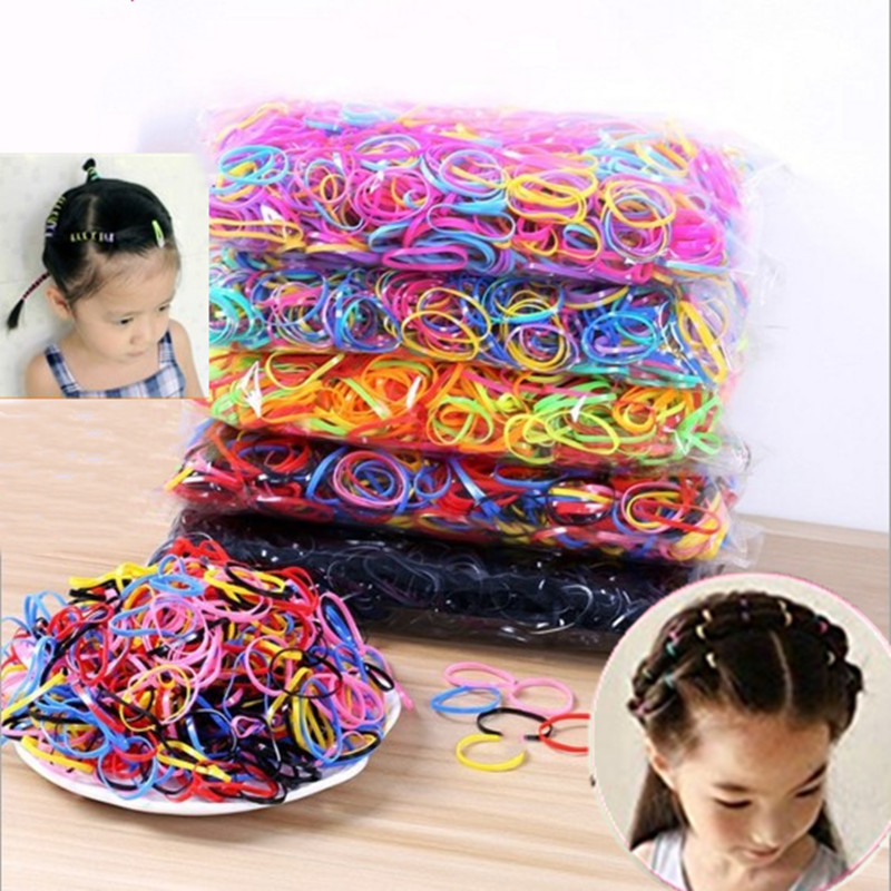 500Pcs Disposable Rubber Bands Elastic Hair Ties Kids Girl Ponytails Holder For Braids Wedding Hairstyle School Office Supplies
