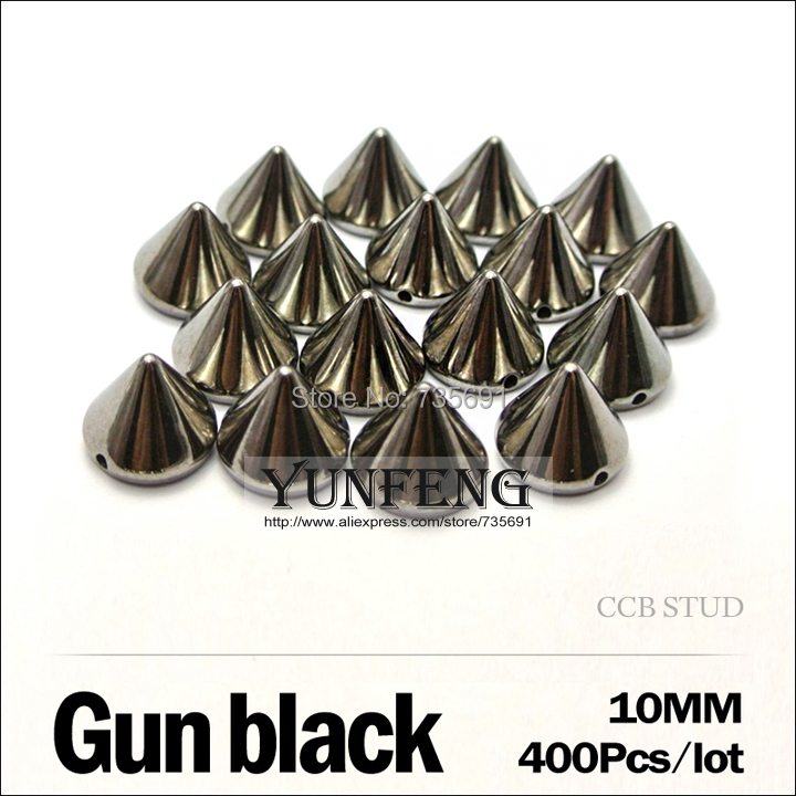 Real Spikes Rebite Remaches Ccb Plastic Rivets 10mm 400pcs/lot Gun Black Stud Sew On Accessories Use Clothes Shoes Bags