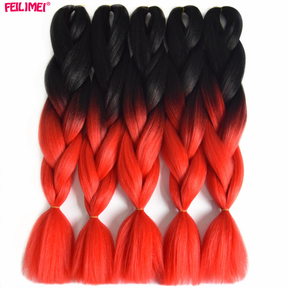 Feilimei Ombre Braiding Hair Extensions 6Pcs/Lot Two Toned Synthetic jumbo Box Braids 24 Inch 100g/pc Black Females Crochet Hair