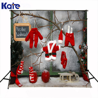 Kate Merry Christmas photography backgrounds photo red cloth hat glove Branch snow wall backdrops for photo studio pirint ST 094