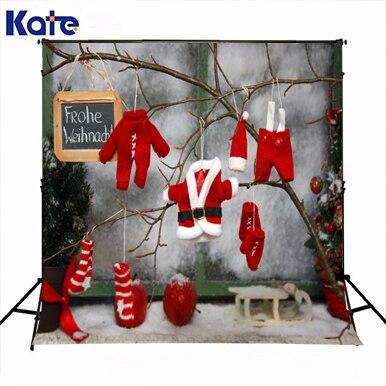 Kate joyeux noël photographie arrière-plans photo rouge tissu chapeau gant branche neige mur décors pour photo studio pirint ST-094