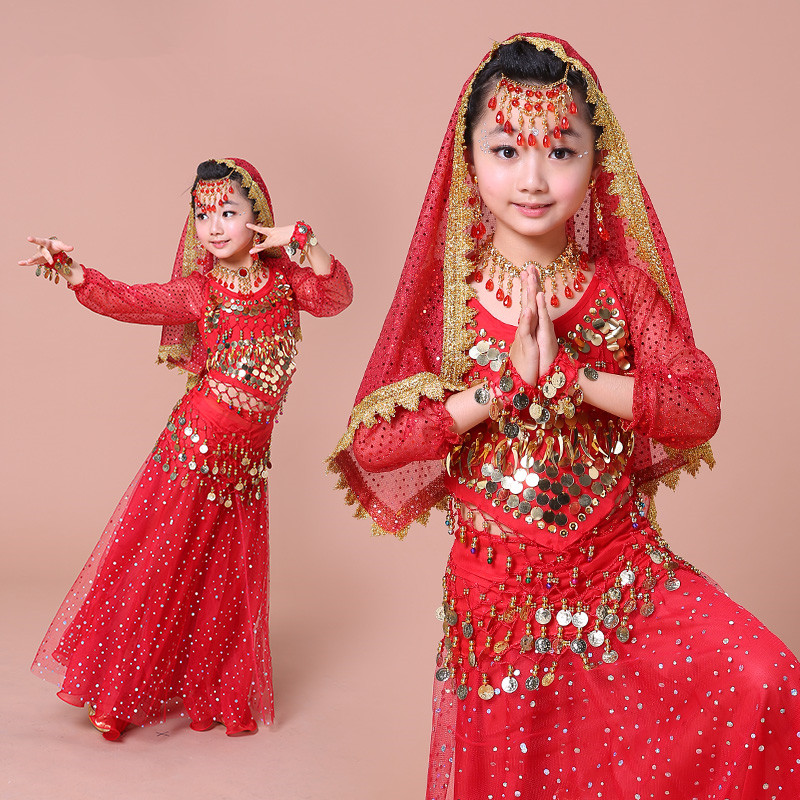 New girls Sequins Belly Dance Costume rose red/red/yellow 3 colors Bollywood Indian Dance Costumes 2-3-4-5-6-7pcs Sets