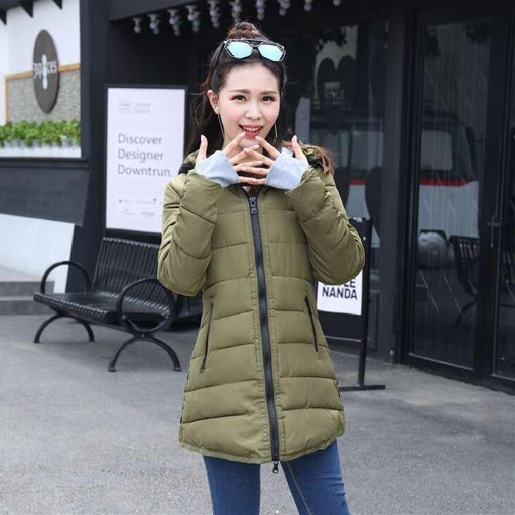 HTB18 pko29TBuNjy0Fcq6zeiFXam 2019 women winter hooded warm coat slim plus size candy color cotton padded basic jacket female medium-long jaqueta feminina