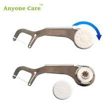 ECO Edelstahl zahnärztliche flosser Wiederverwendbare halbautomatische dental draht rack zahnseide stick Mundpflege