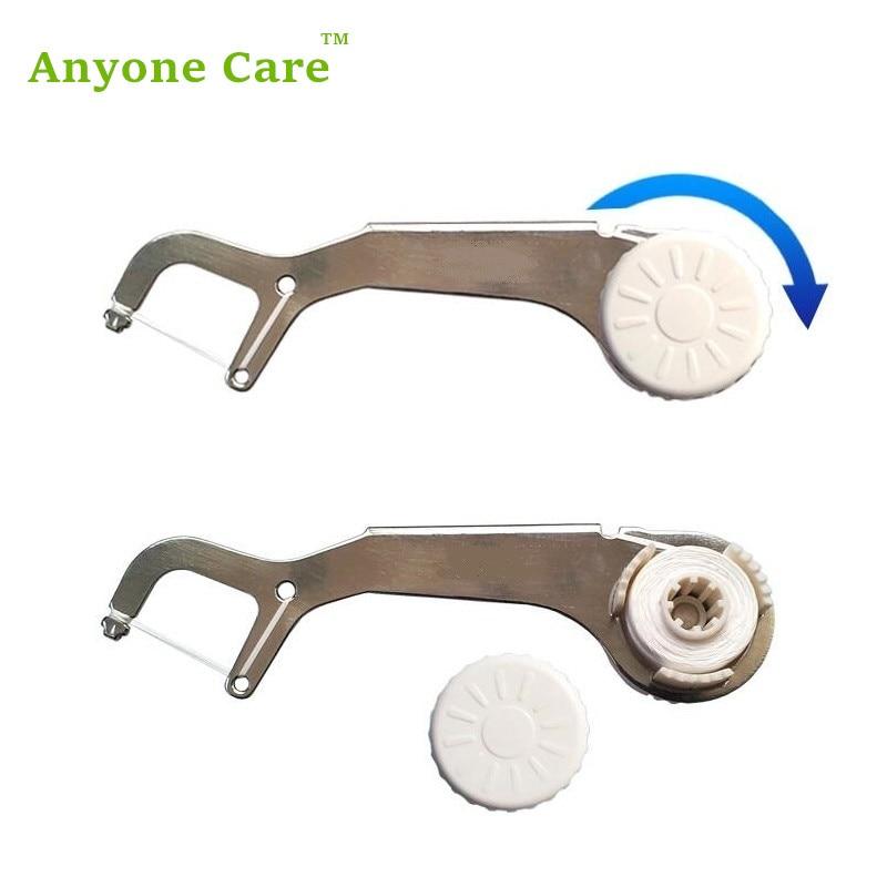 Hilo Dental de acero inoxidable ecológico palillo de dientes reutilizable semi automático plano PTFE alambre Dental hilo Dental cuidado bucal