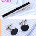 VAGULA Onyx Tie Clip Cufflinks Set Silver Tie Pin Cuff links Set Wholesale High Quality Tie Bar Link Set 56