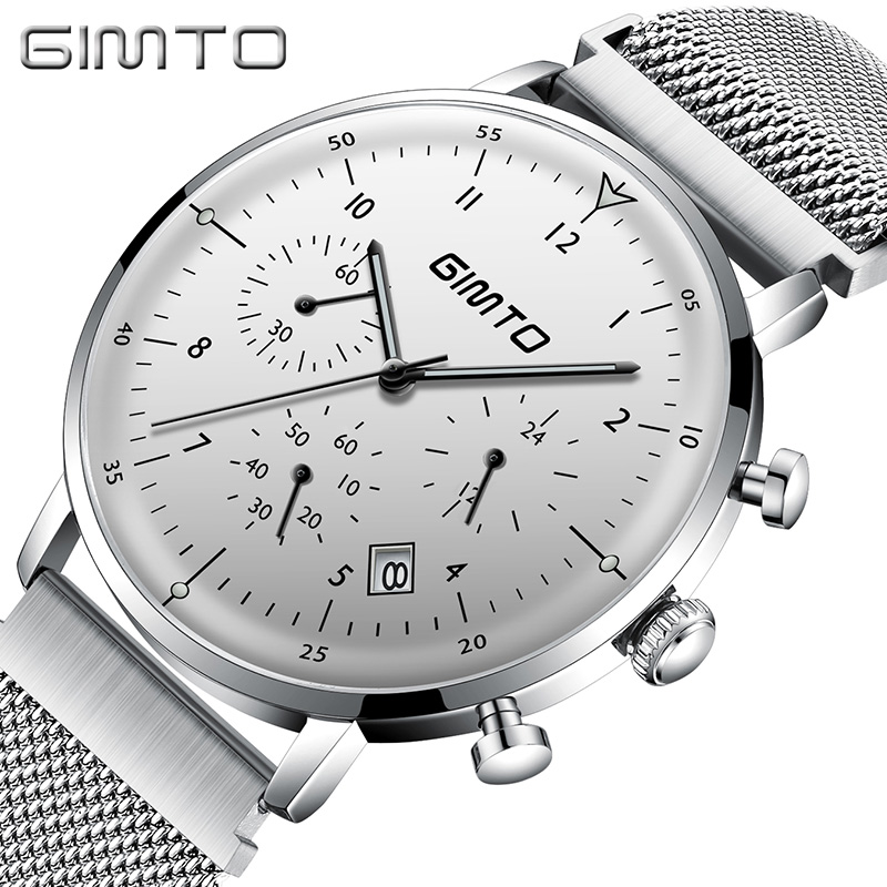 GIMTO Brand Sport Men Watches Quartz Steel Clock Chronograph Wristwatch Waterproof Fashion Casual Male Watches Relogio Masculino