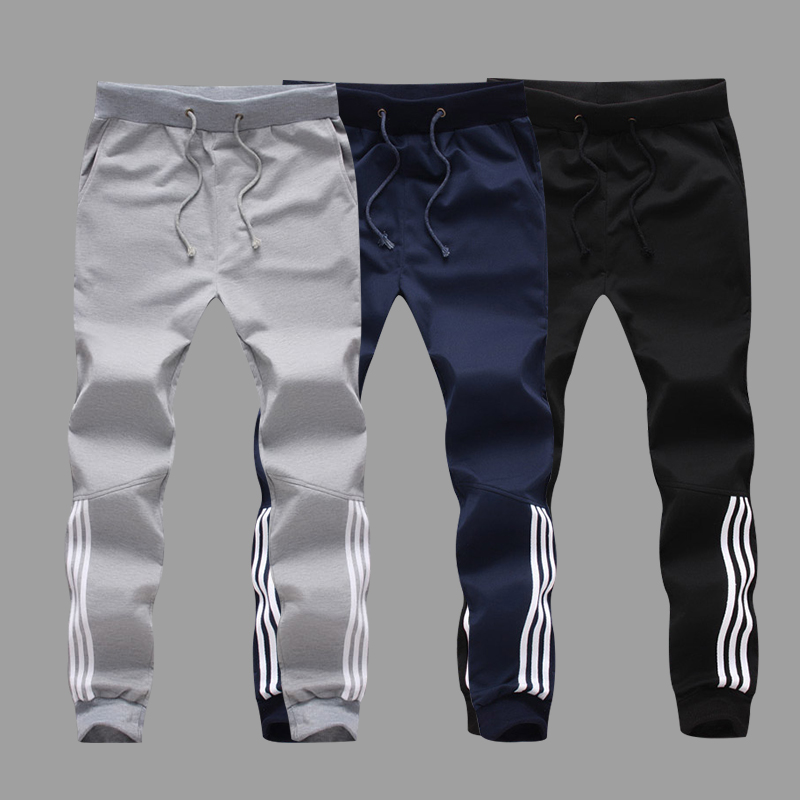 Fashion Men Casual Pencil Pants Gyms Casual Striped Cotton Male Fitness Workout Trousers Skinny Sweatpants Jogger Sportswear 5XL
