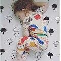 Новые дети установить 2016 лето марка граффити печати хлопка мальчики девочки устанавливает Футболка + Леггинсы 2 шт. топы брюки дети одежда