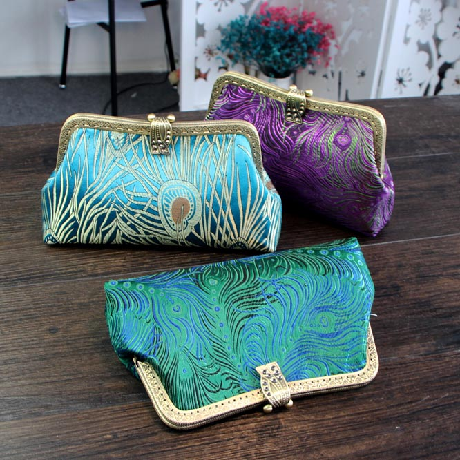 Retro butterfly flowers Brocade Satin fabric Fabric Material Kit Purse Gold Frame Handmade Purse Bags Sewing Party Handbag