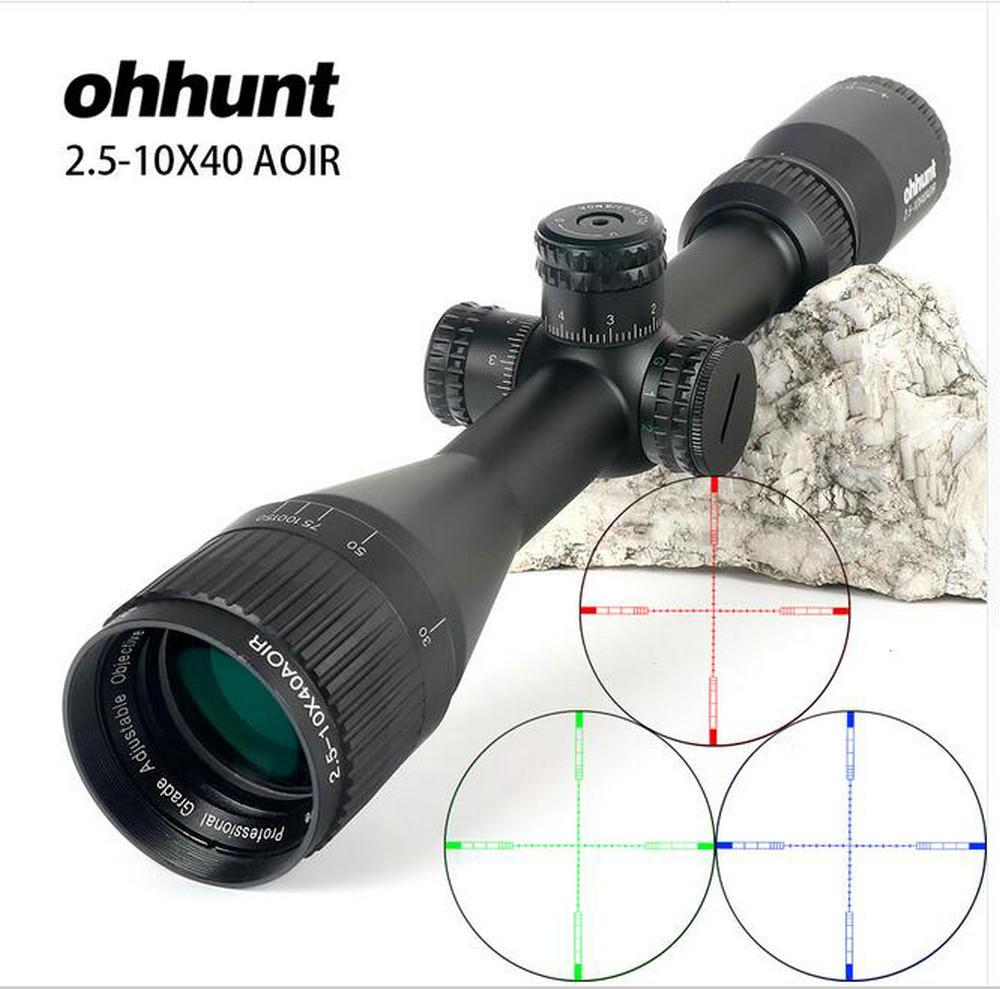 2.5-10X40 AOIR Hunting Trail Optics Riflescopes Half Mil Dot R/G/B Illuminated Reticle Turrets Lock Reset Full Size Rifle Scope