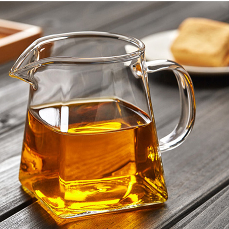 350ml Heat-resisting clear glass fair cup cha hai,handmade chinese kung fu tea cups teaset gongdao bei tea pitcher with handle