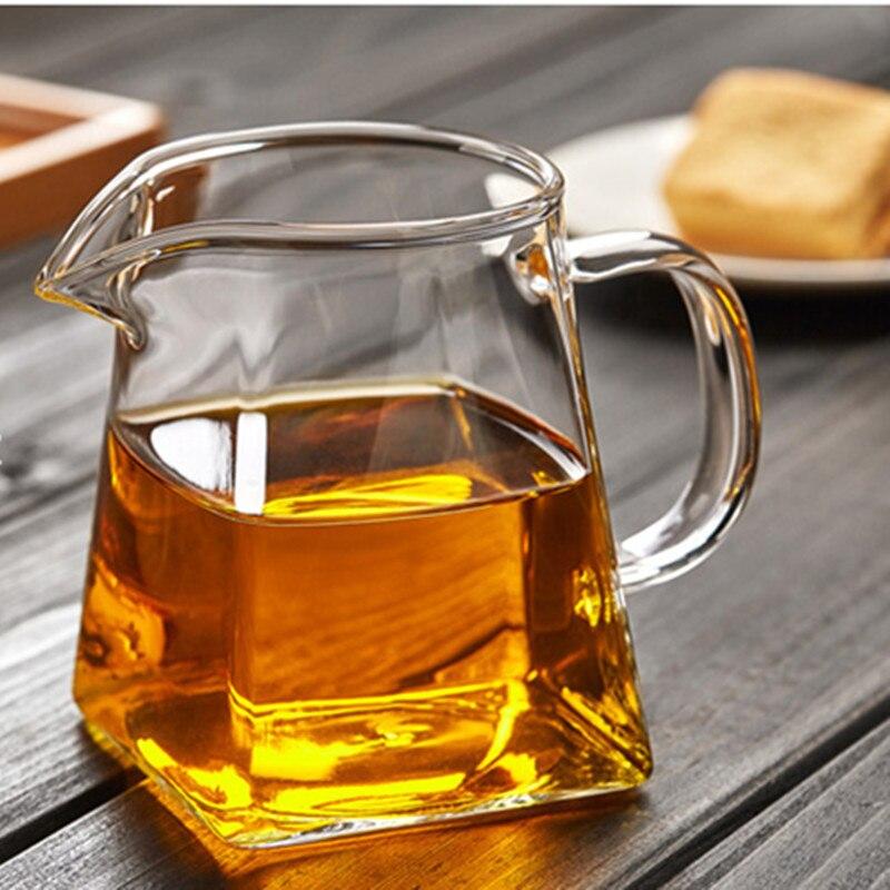 350ml Heat-resisting clear glass fair cup cha hai,handmade chinese kung fu tea cups teaset gongdao bei tea pitcher with handle