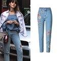 Estilo europeu 3D Bordado Mulheres Lápis Calça Jeans de Cintura Alta Rasgado Jeans Slim Para As Mulheres Frete Grátis Mulheres Roupas de Marca S2810