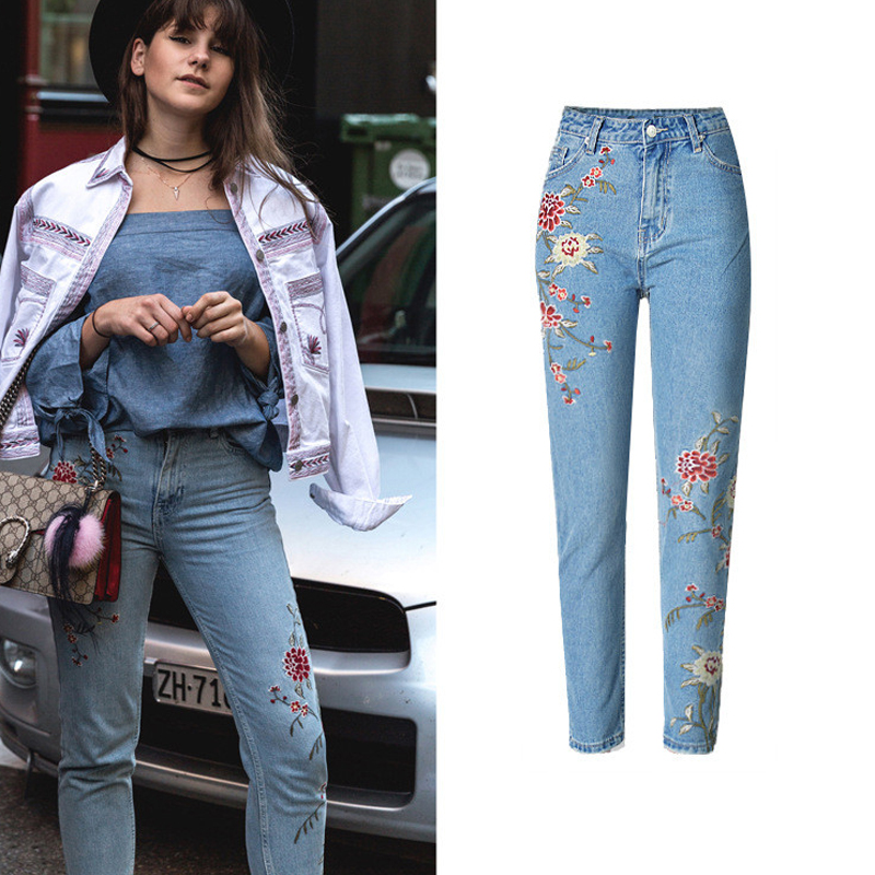 European Style 3D Embroidered Women Pencil Jeans High Waist Ripped Slim Jeans For Women Free Shipping