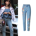 European Style 3D Embroidered Women Pencil Jeans High Waist Ripped Slim Jeans For Women Free Shipping Women Brand Clothing S2810