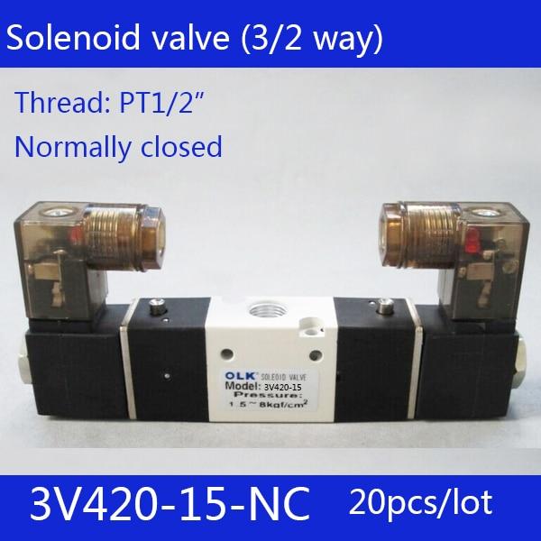 20pcs Free shipping 3V420-15-NC solenoid Air Valve 3Port 2Position 1/2 Solenoid Air Valve Single NC Normal Closed,Double control 1pcs 3v210 08 dc24v 3port 2position 1 4 bsp single solenoid pneumatic air valve brand new