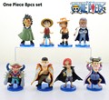 EMS Shipping 12 sets One Piece Anime Luffy Ace Rayleigh Shanks Garp etc. 20th PVC Action Figure Collection Model Toy (8pcs set)
