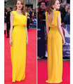 2017 Concise Yellow Evening Dresses with Scoop Neckline Sleeveless Floor Length Backless Celebrity Prom Gowns Long Robe