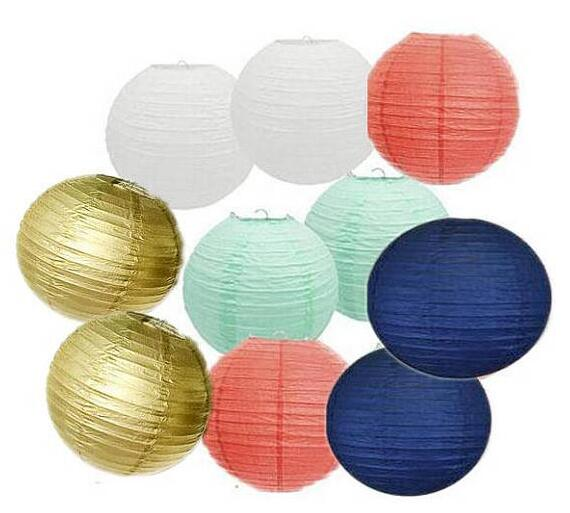 10pcs white gold navy blue coral mint green paper lantern lamp 10pcs white gold navy blue coral mint green paper lantern lamp shades for wedding birthday baby shower party decoration in lanterns from home garden on aloadofball Gallery