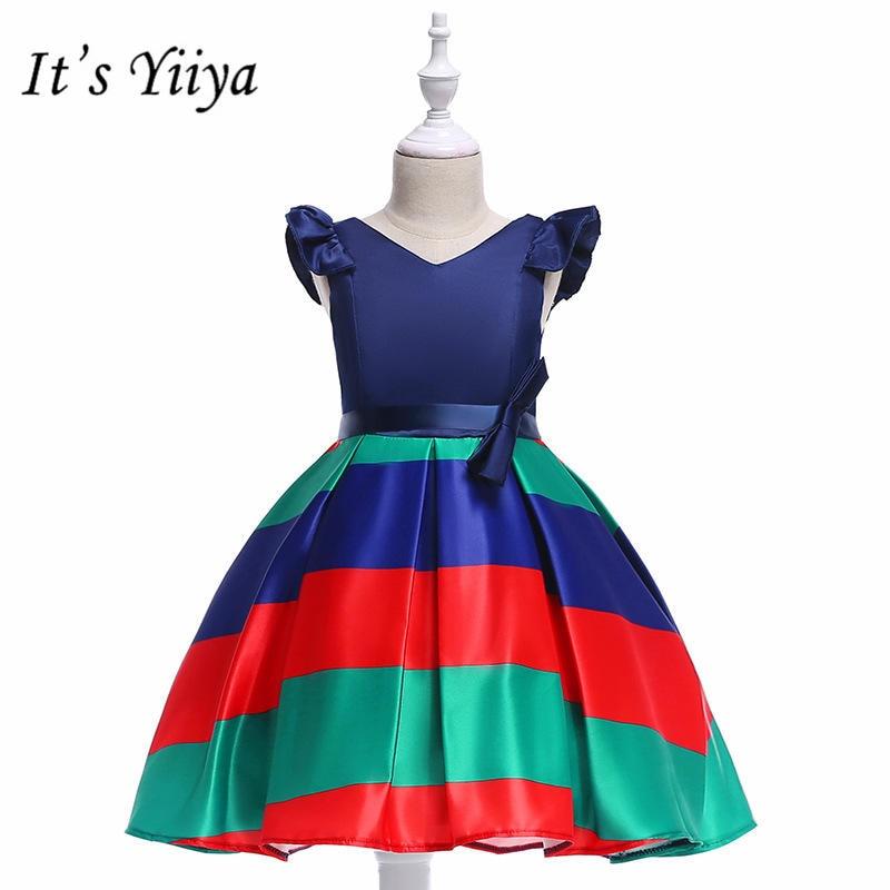 It's yiiya Fashion Stirped V-neck Little   Flower     Girl     Dresses   O-neck Sleeveless   Girl     Dress   MA072