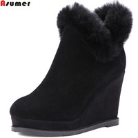 ASUMER Fashion Women Boots Black Gray New Arrive Ladies Cow Suede Boots Round Toe Zipper Fur