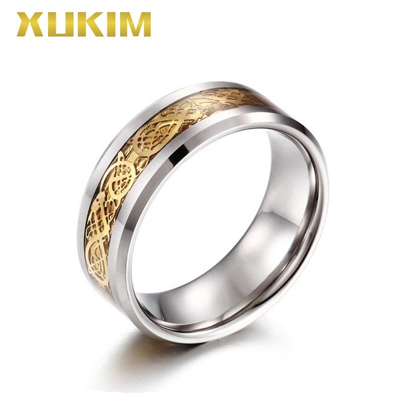 TSR217 Xukim bijoux en acier inoxydable bague femmes mariage nouveau mot de passe chaud anneau tungstène hommes anneau or Dragon anneau