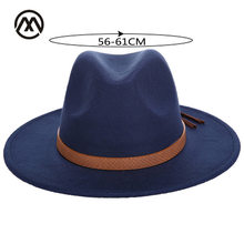 Autumn and winter men's large size fedora 60CM classical sombrero furry headscarf imitation wool caps visor high quality cowboy(China)