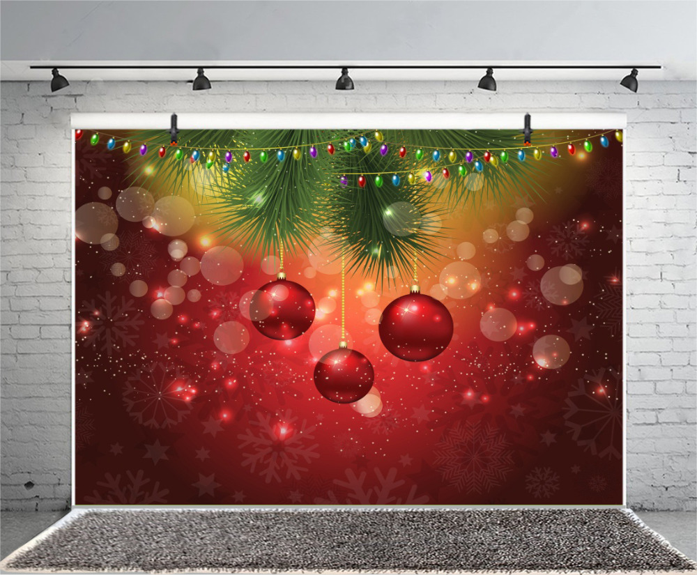 Laeacco Photo Backdrops Christmas Bauble Polka Dots Pine Party Poster Photographic Backgrounds Photocall For Photo Studio in Background from Consumer Electronics